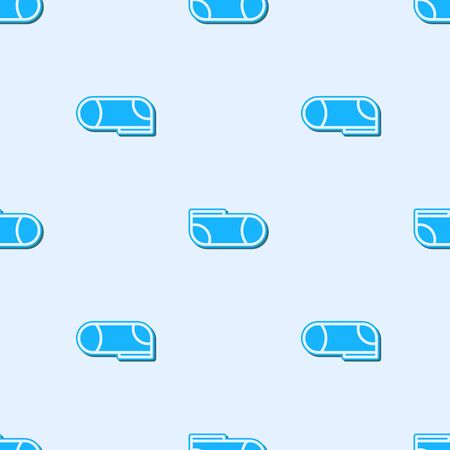 Blue line Sport socks icon isolated seamless pattern on grey background. Vector Illustration