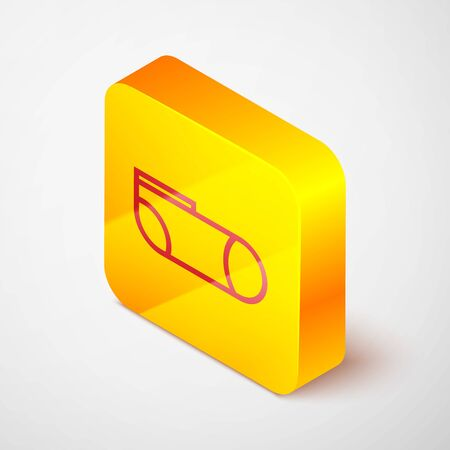 Isometric line Sport socks icon isolated on grey background. Yellow square button. Vector Illustration Reklamní fotografie - 138380577