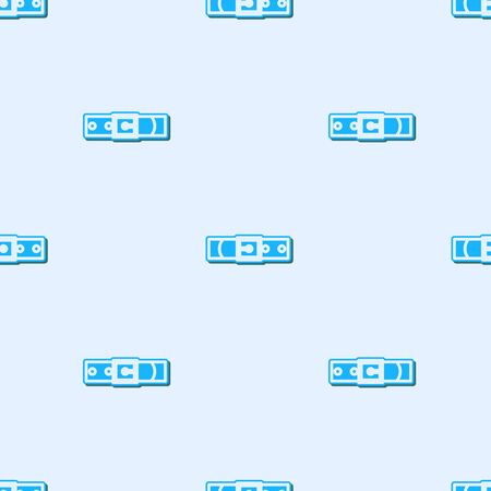 Blue line Leather belt with buttoned steel buckle icon isolated seamless pattern on grey background. Vector Illustration  イラスト・ベクター素材