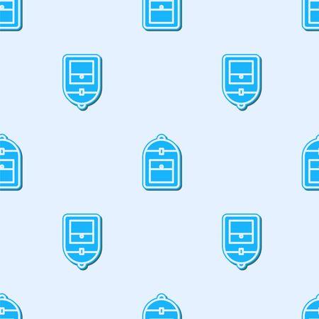 Niebieska linia plecak ikona na białym tle wzór na szarym tle. Ilustracja wektorowa