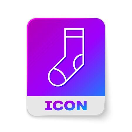 White line Socks icon isolated on white background. Rectangle color button. Vector Illustration Reklamní fotografie - 138380695