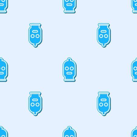 Blue line Balaclava icon isolated seamless pattern on grey background. A piece of clothing for winter sports or a mask for a criminal or a thief. Vector Illustration Ilustracja