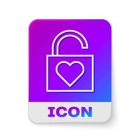 White line Lock and heart icon isolated on white background. Locked Heart. Love symbol and keyhole sign. Valentines day symbol. Rectangle color button. Vector Illustration