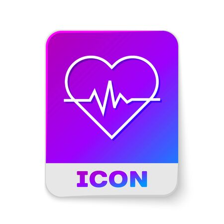 White line Heart rate icon isolated on white background. Heartbeat sign. Heart pulse icon. Cardiogram icon. Rectangle color button. Vector Illustration Ilustracja
