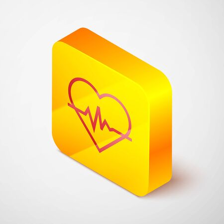 Isometric line Heart rate icon isolated on grey background. Heartbeat sign. Heart pulse icon. Cardiogram icon. Yellow square button. Vector Illustration Ilustracja