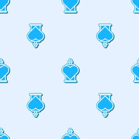 Blue line Bottle with love potion icon isolated seamless pattern on grey background. Valentines day symbol. Vector Illustration 일러스트