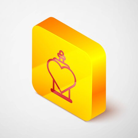 Isometric line Bottle with love potion icon isolated on grey background. Valentines day symbol. Yellow square button. Vector Illustration