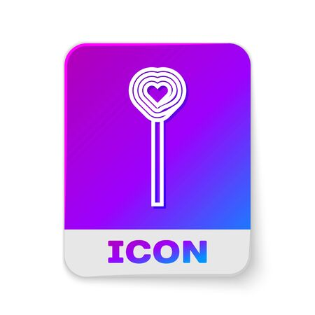White line Lollipop icon isolated on white background. Candy sign. Food, delicious symbol. Valentines day. Love symbol. Rectangle color button. Vector Illustration Reklamní fotografie - 138382450