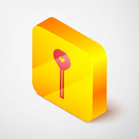 Isometric line Lollipop icon isolated on grey background. Candy sign. Food, delicious symbol. Valentines day. Love symbol. Yellow square button. Vector Illustration