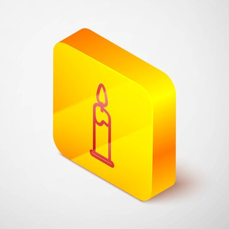 Isometric line Burning candle in candlestick icon isolated on grey background. Cylindrical candle stick with burning flame. Yellow square button. Vector Illustration Иллюстрация