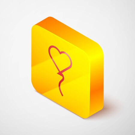 Isometric line Balloons in form of heart with ribbon icon isolated on grey background. Valentines day symbol. Yellow square button. Vector Illustration Ilustracja