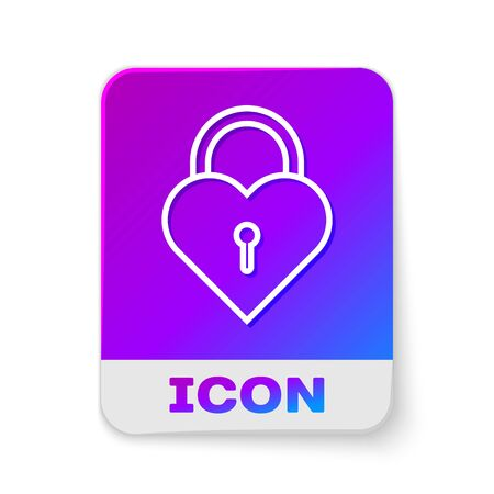 White line Castle in the shape of a heart icon isolated on white background. Locked Heart. Love symbol and keyhole sign. Rectangle color button. Vector Illustration Ilustração