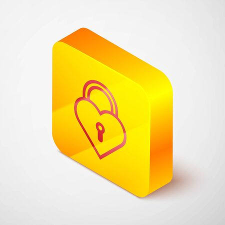 Isometric line Castle in the shape of a heart icon isolated on grey background. Locked Heart. Love symbol and keyhole sign. Yellow square button. Vector Illustration