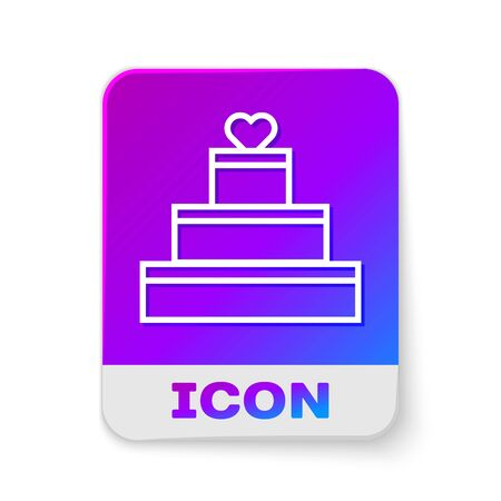 White line Wedding cake with heart icon isolated on white background. Valentines day symbol. Rectangle color button. Vector Illustration