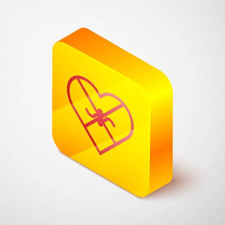 Isometric line Candy in heart shaped box and bow icon isolated on grey background. Valentines Day. Yellow square button. Vector Illustration