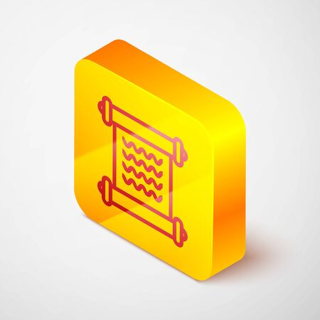 Isometric line Decree, paper, parchment, scroll icon icon isolated on grey background. Yellow square button. Vector Illustration