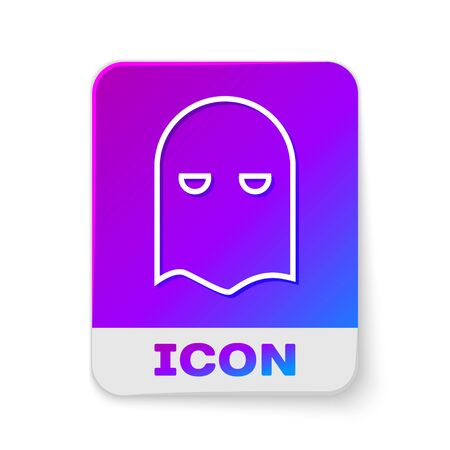 White line Executioner mask icon isolated on white background. Hangman, torturer, executor, tormentor, butcher, headsman icon. Rectangle color button. Vector Illustration