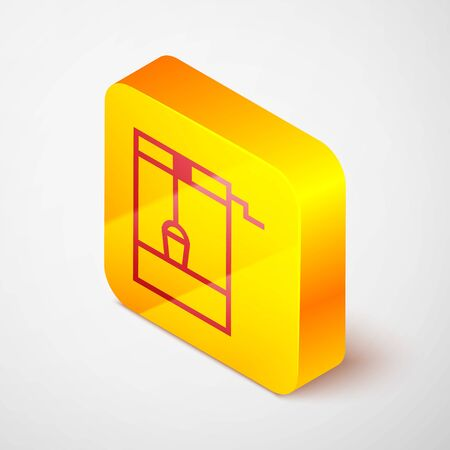 Isometric line Well with a bucket and drinking water icon isolated on grey background. Yellow square button. Vector Illustration