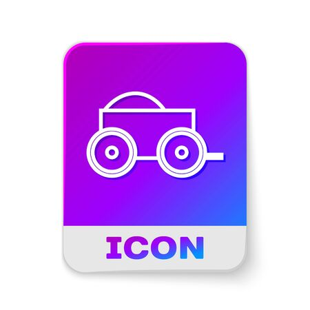 White line Wooden four-wheel cart with hay icon isolated on white background. Rectangle color button. Vector Illustration