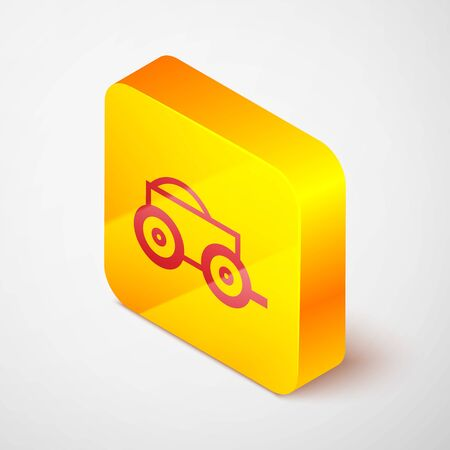 Isometric line Wooden four-wheel cart with hay icon isolated on grey background. Yellow square button. Vector Illustration Ilustração