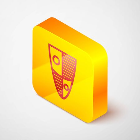 Isometric line Shield icon isolated on grey background. Guard sign. Security, safety, protection, privacy concept. Yellow square button. Vector Illustration