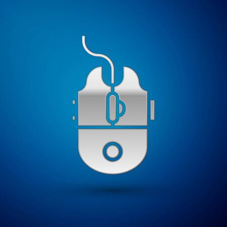 Silver Computer mouse gaming icon isolated on blue background. Optical with wheel symbol. Vector Illustration