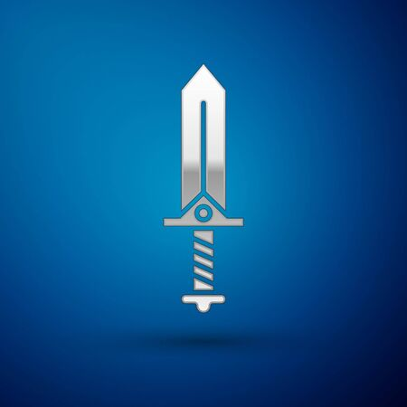Silver Sword for game icon isolated on blue background. Vector Illustration Ilustracja