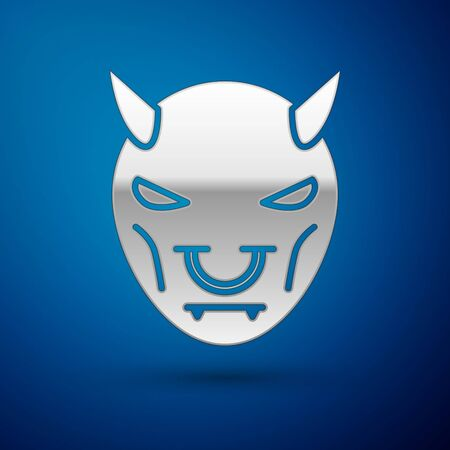 Silver Mask of the devil with horns icon isolated on blue background. Vector Illustration Векторная Иллюстрация
