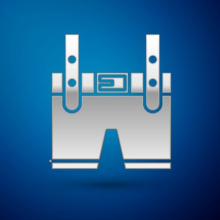 Silver Lederhosen icon isolated on blue background. Traditional bavarian clothing. Oktoberfest outfit. Pants with suspenders. Patrick day.  Vector Illustration