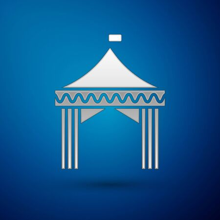 Silver Camping tent icon isolated on blue background. Carnival camping tent. Amusement park.  Vector Illustration