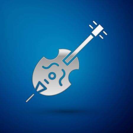 Silver Violin icon isolated on blue background. Musical instrument.  Vector Illustration