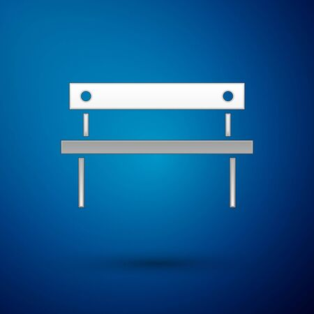Silver Bench icon isolated on blue background.  Vector Illustration Ilustração
