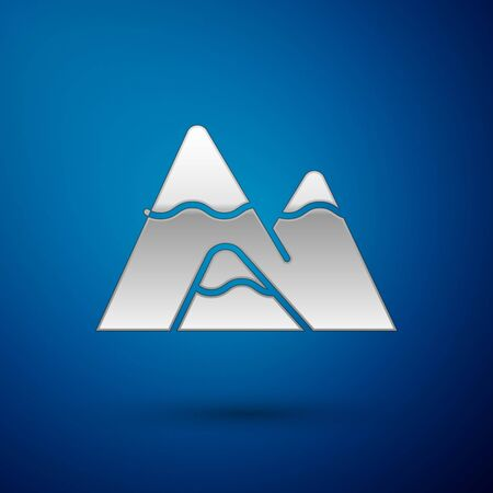 Silver Mountains icon isolated on blue background. Symbol of victory or success concept.  Vector Illustration Ilustração