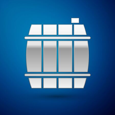 Silver Wooden barrel icon isolated on blue background. Alcohol barrel, drink container, wooden keg for beer, whiskey, wine.  Vector Illustration