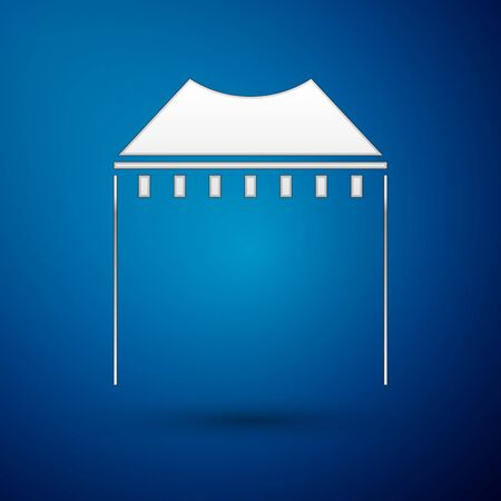 Silver Camping tent icon isolated on blue background. Carnival camping tent. Amusement park. Vector Illustration Reklamní fotografie - 138377430