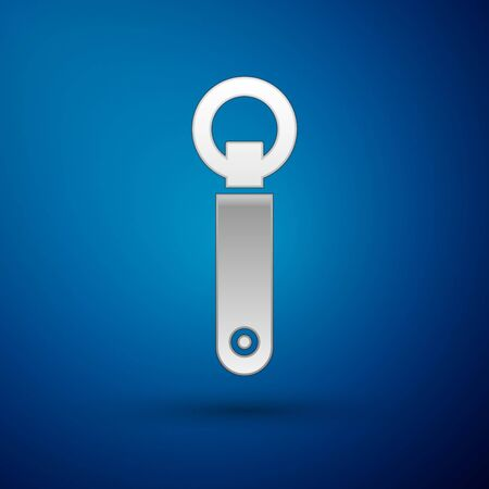 Silver Bottle opener icon isolated on blue background. Vector Illustration