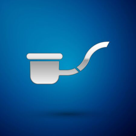Silver Smoking pipe with smoke icon isolated on blue background. Tobacco pipe. Vector Illustration Ilustracja