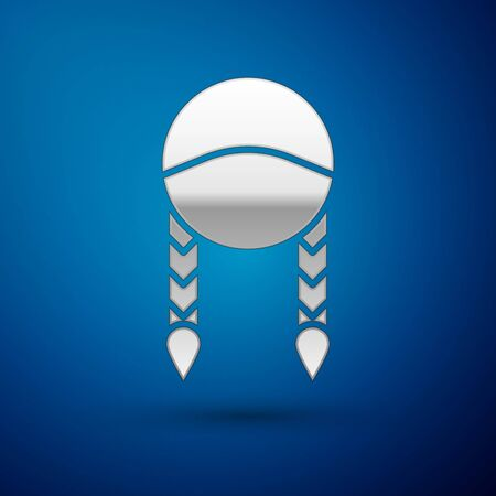 Silver Braid icon isolated on blue background. Vector Illustration