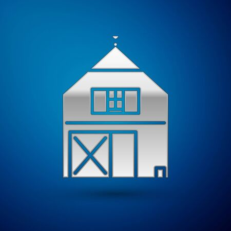 Silver Farm House concept icon isolated on blue background. Rustic farm landscape. Vector Illustration