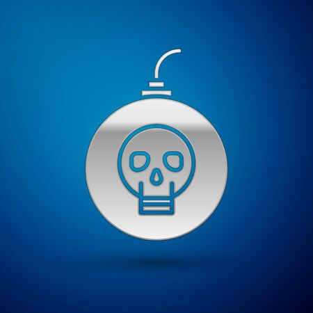 Silver Bomb ready to explode icon isolated on blue background. Happy Halloween party. Vector Illustration Illustration