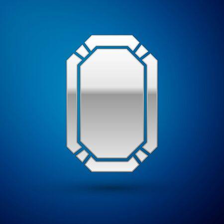 Silver Poker table icon isolated on blue background. Vector Illustration Ilustração