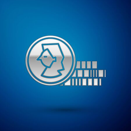Silver Coin for game icon isolated on blue background. Vector Illustration