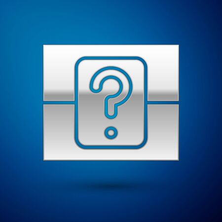 Silver Mystery box or random loot box for games icon isolated on blue background. Question box. Vector Illustration