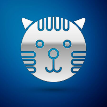 Silver Tiger zodiac sign icon isolated on blue background. Astrological horoscope collection. Vector Illustration Ilustrace