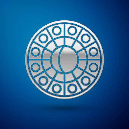 Silver Astrology horoscope circle with zodiac icon isolated on blue background. Vector Illustration Illusztráció