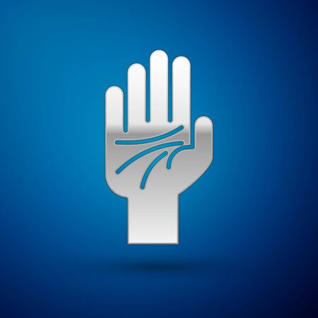 Silver Palmistry of the hand icon isolated on blue background. Vector Illustration