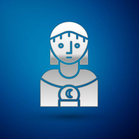 Silver Astrology woman icon isolated on blue background. Vector Illustration Archivio Fotografico - 138383082