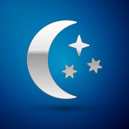 Silver Moon and stars icon isolated on blue background. Vector Illustration Ilustração