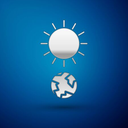 Silver Solstice icon isolated on blue background. Vector Illustration