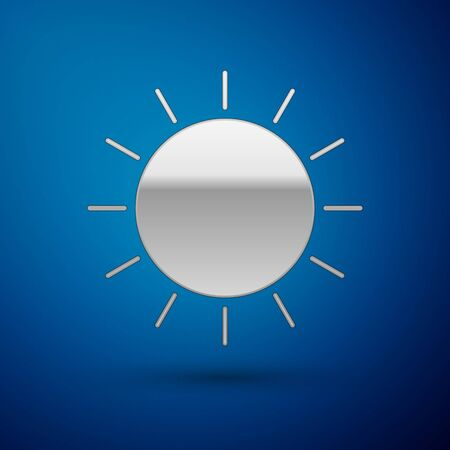 Silver Sun icon isolated on blue background. Vector Illustration